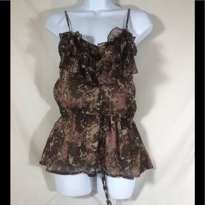 Mudd lined pink, brown, ruffled spaghetti strap M